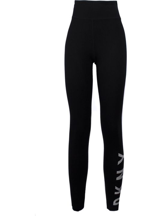 DKNY Black Cotton Blend Branded Leggings