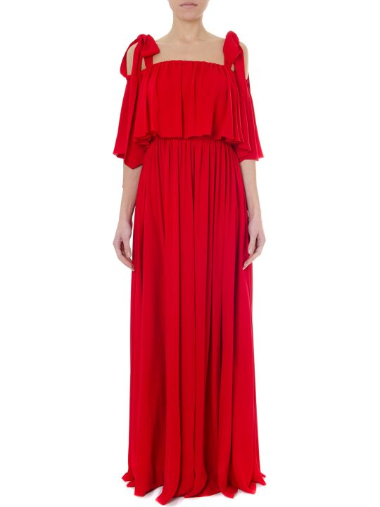 Valentino Flared Red Silk Long Dress