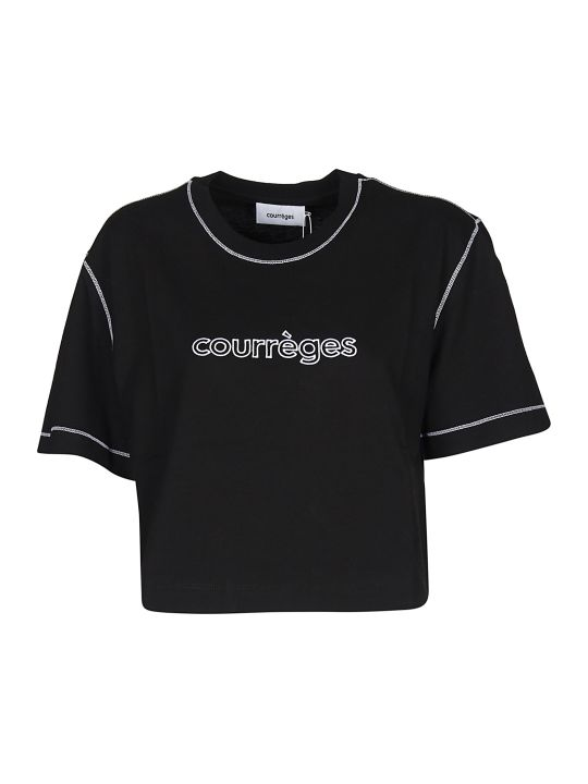 Courrèges Logo Cropped T-shirt