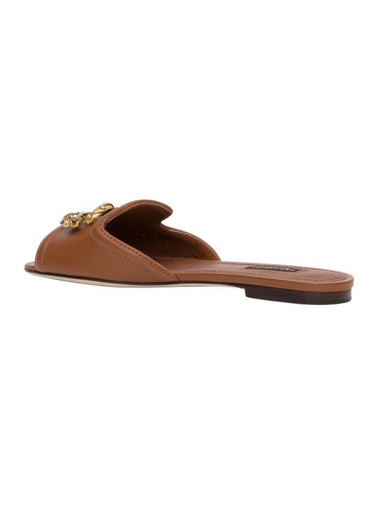 Dolce & Gabbana Dg Amore Flat Mule Sandal With Dg Buckle