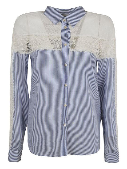 RED Valentino Lace-detail Striped Shirt