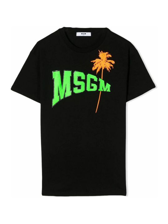 MSGM Black Cotton T-shirt Dress