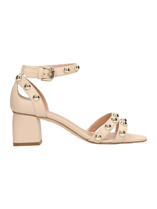 Julie Dee Beige Leather Sandals