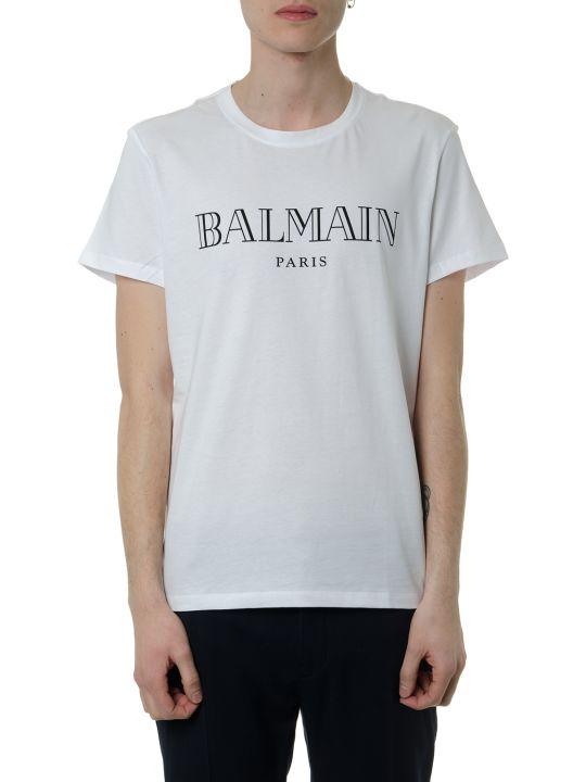 Balmain White Cotton T-shirt With Logo Balmain Paris