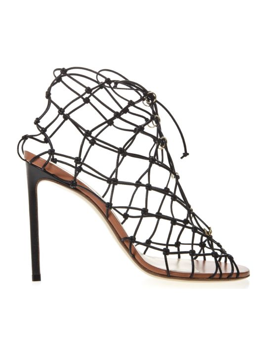 Francesco Russo Black Leather Fishnet Sandals