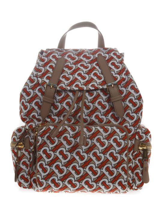 Burberry The Rucksack Medium Backpack With Monogram Print