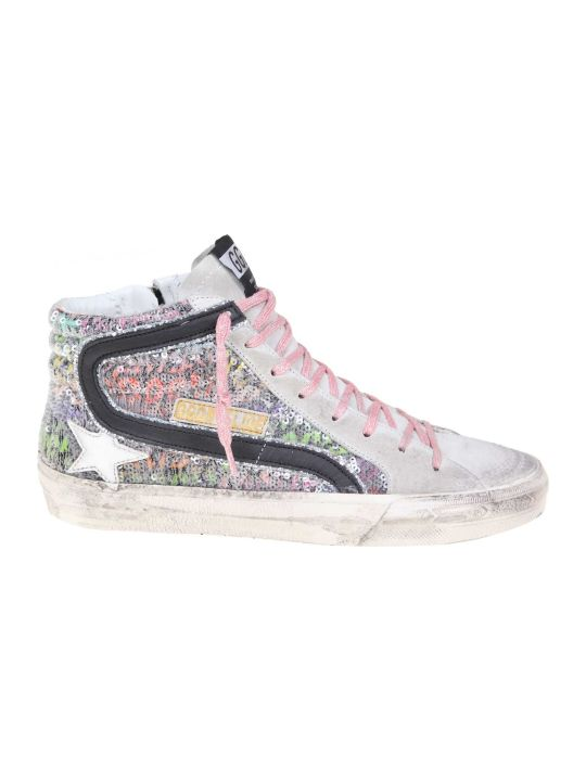 Golden Goose Slide Sneakers In Leather With Paillettes Color Multicolor