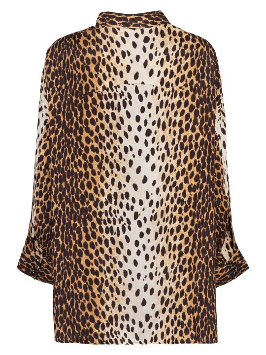 R13 Animal Print Western Style Shirt