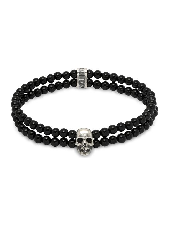 Northskull Double Row Beaded Bracelet With Skull Charmin Black Onyx & Silver