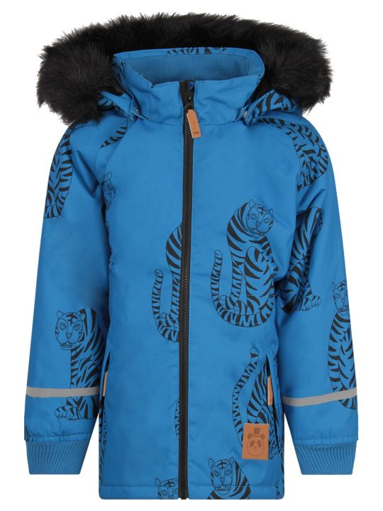 Mini Rodini Azure Boy Jacket With Colorful Black Tigers