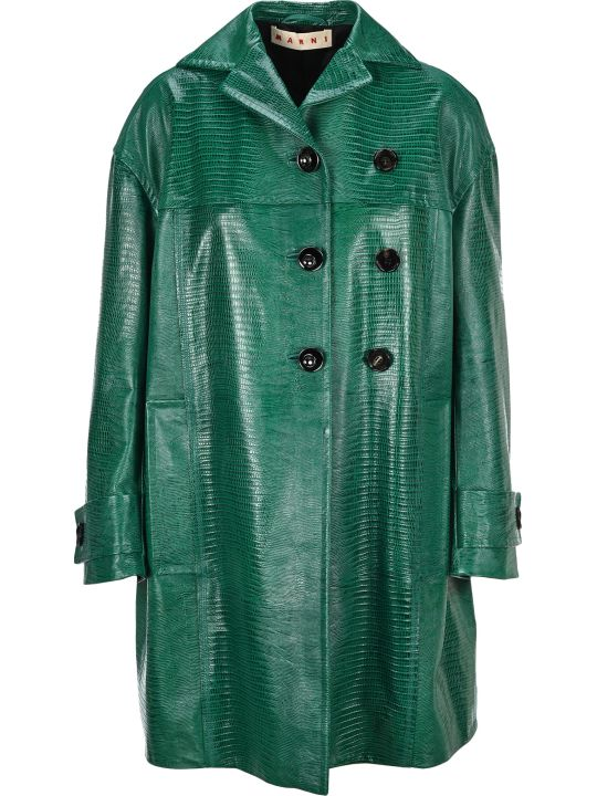 Marni Leather Coat With Lizard Print