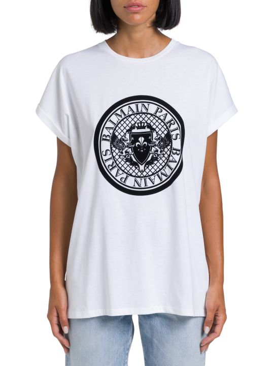 Balmain T-shirt With Floc Logo Print