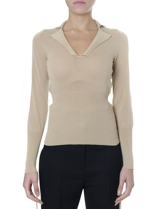Jacquemus Beige Blend Cotton Sweatshirt With Notched Collar