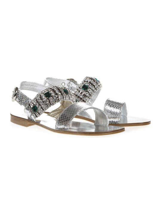 Emanuela Caruso Silver Laminate Scaled Leather Sandal
