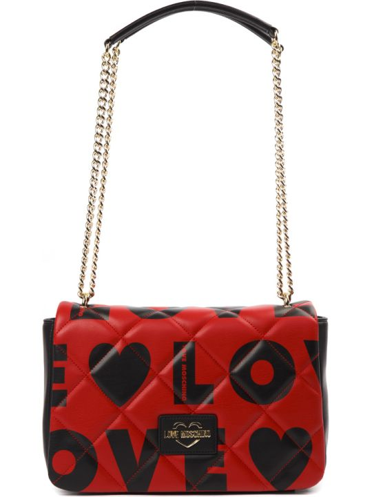 Love Moschino Black & Red Love Faux Leather Shoulder Bag