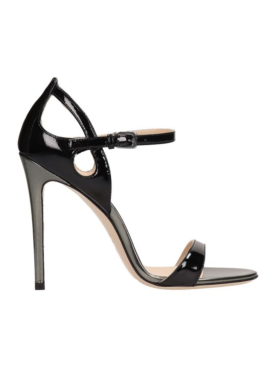 Dei Mille Black Patent Leather Sandals