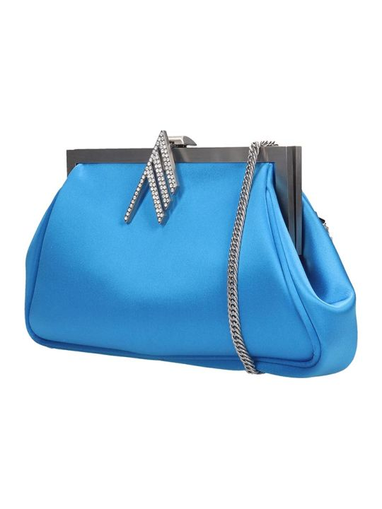 The Attico Alma Shoulder Bag In Cyan Fabric
