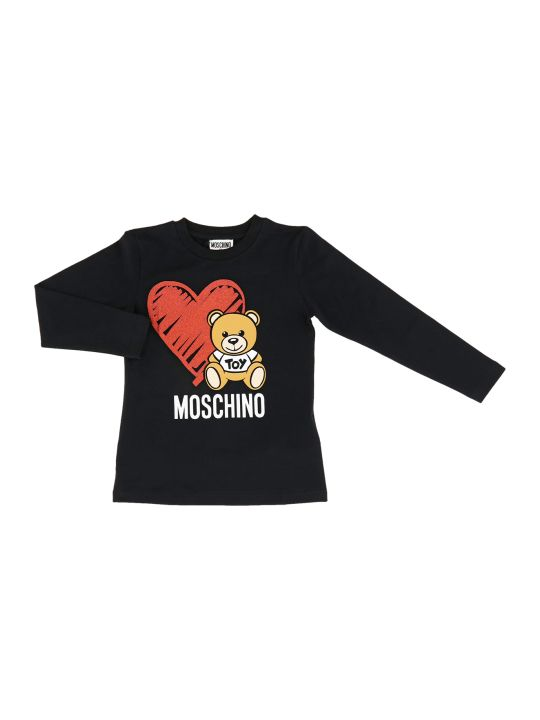 Moschino T-shirt Manica Lunga Bear Heart