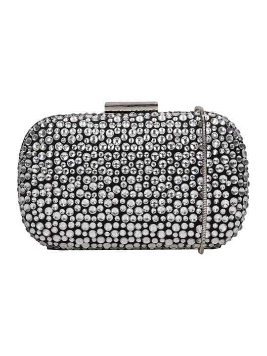 Lola Cruz Clutch Bag In Black Leather