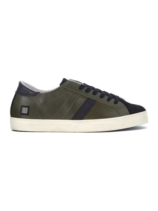 D.A.T.E. Hill Low Hunter Green Nappa And Black Suede Sneaker