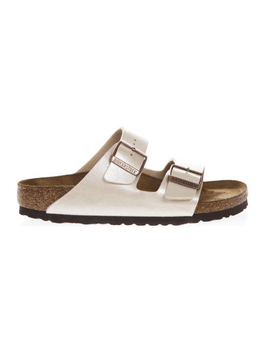 Birkenstock White Arizona Sandals In Birko Flor Fabric