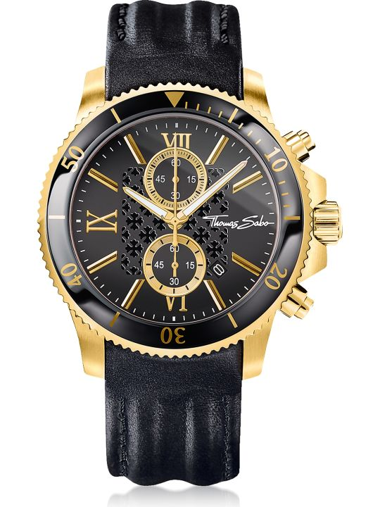 Thomas Sabo Rebel Race Gold Stainless Steel Men's Chronograph Watch W/black Leather Strap