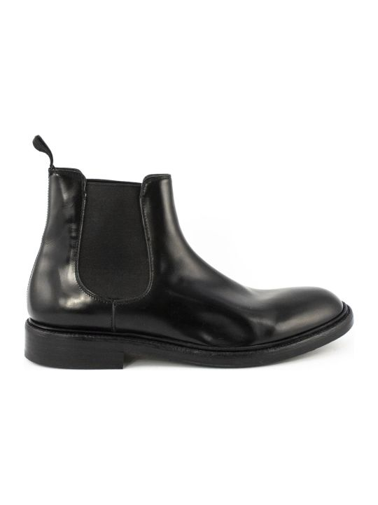 Green George Black Leather Ankle Boots