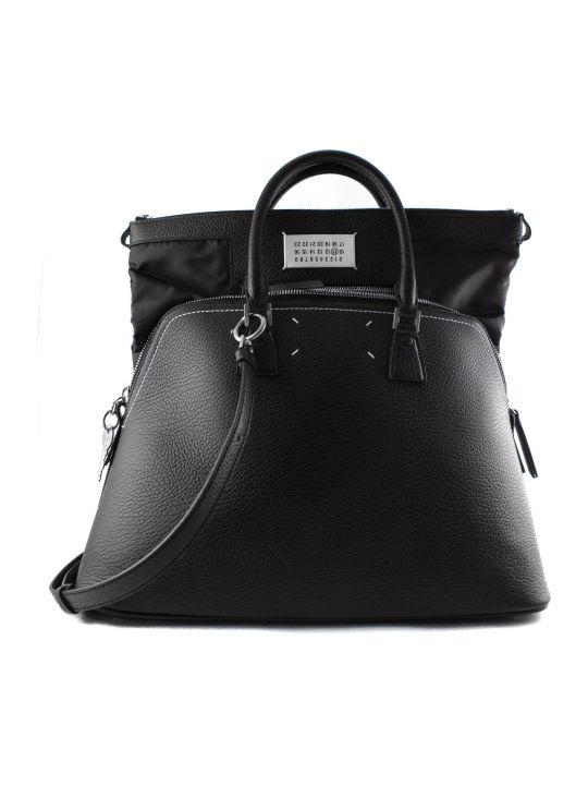 Maison Margiela Black Leather Bag With Double Handle.