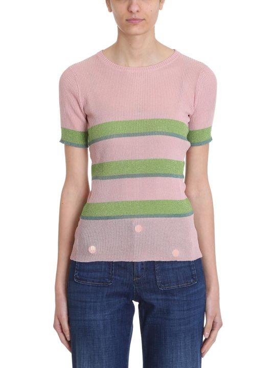 L'Autre Chose Pink Green Lurex Sweater