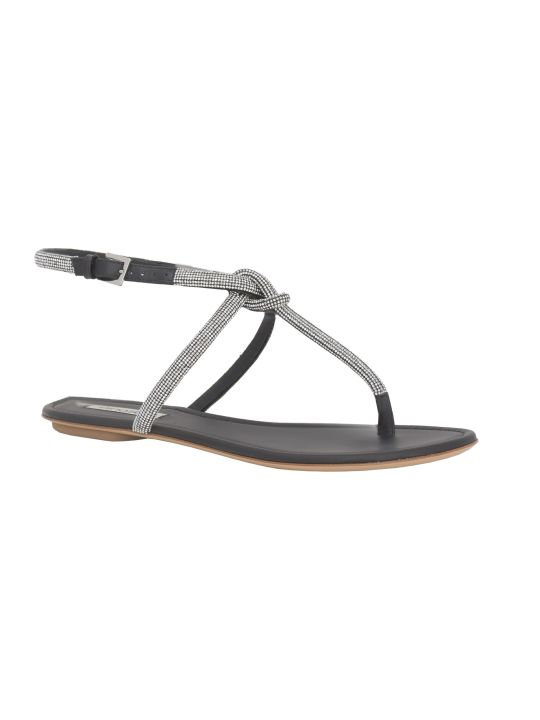 Ninalilou Black Leather Flat Sandals With Swarovsky