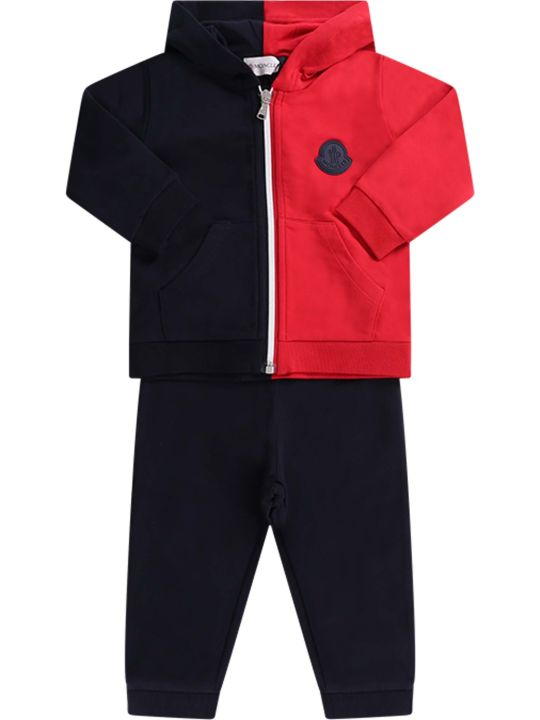 Moncler Blue And Red Babyboy Tracksuit With Iconic Patch