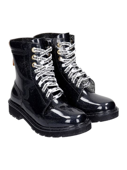 See by Chloé Combat Boots In Black Rubber/plasic