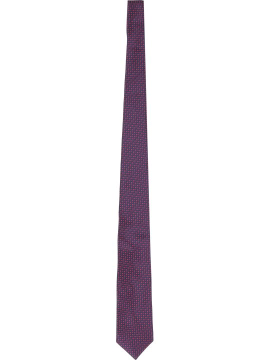 BOSS Black Silk Tie With Micro Pattern