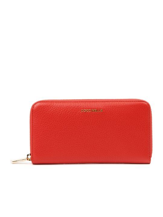 Coccinelle Metallic Soft Red Leather Wallet