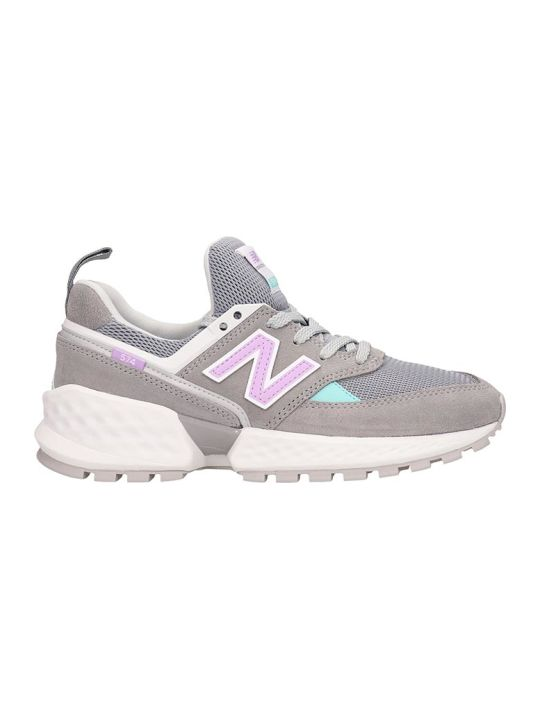 New Balance Grey Leather And Fabric 574 Sneakers
