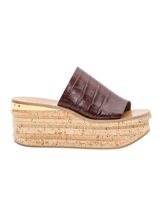Chloé Camille Croc-effect Leather Wedge Mule