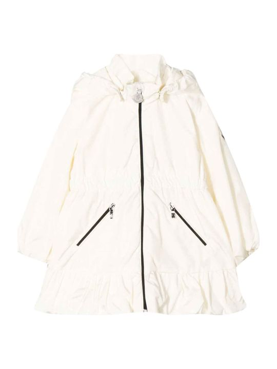 Moncler White Parka With Ruffles