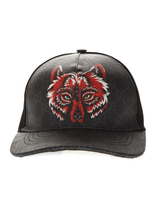 Gucci Black Gg Supreme Baseball Hat With Wolf Print