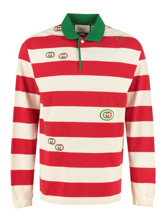 Gucci Long-sleeved Cotton Polo Shirt
