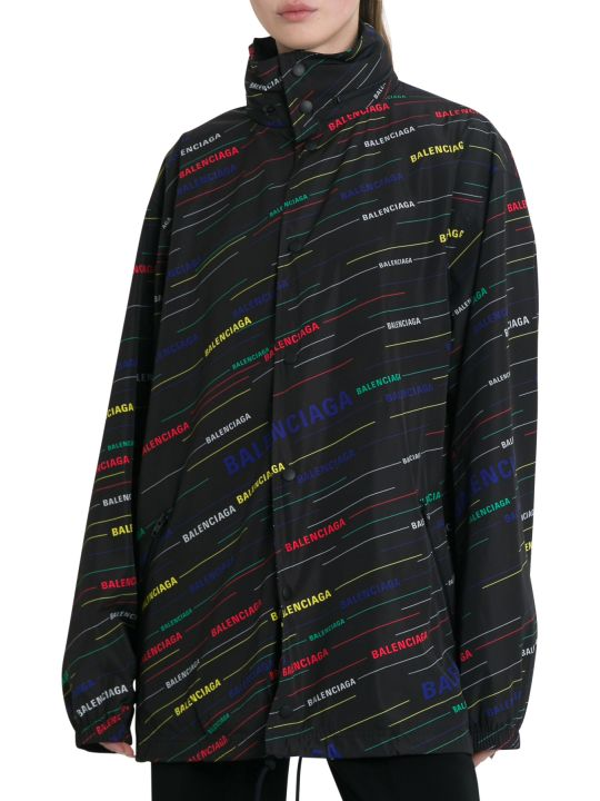 Balenciaga Giacca Impermeabile Raincoat In Stampa Logo Allover