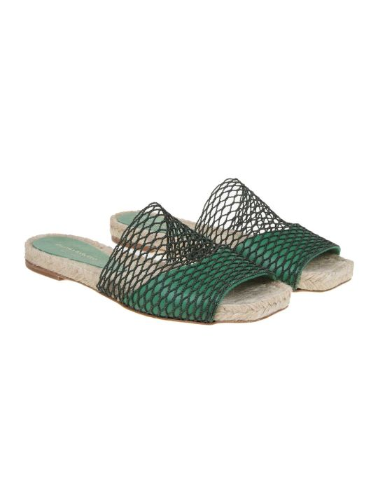 Paloma Barceló Paloma Barcelo 'maribel Leather And Net Sandal Color Green