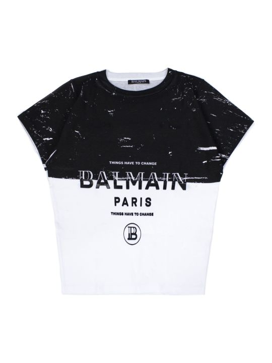 Balmain Black And White Cotton T-shirt