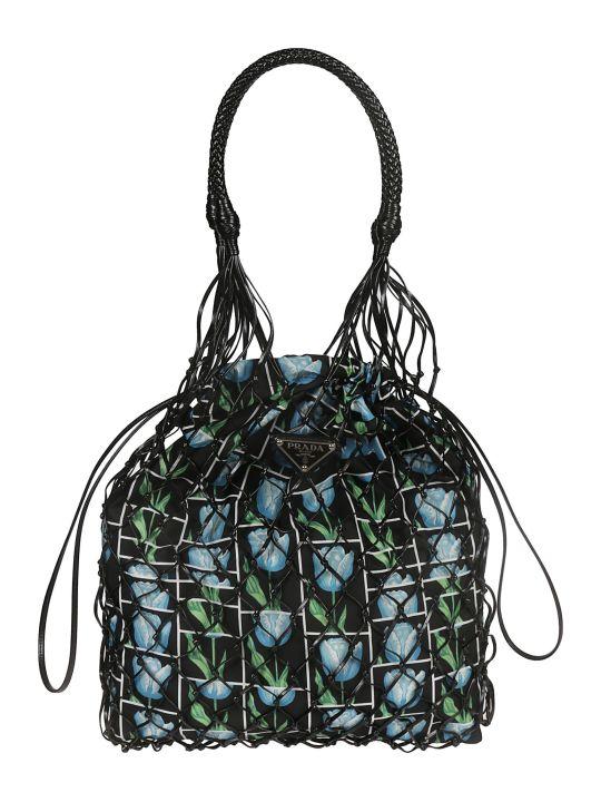 Prada Floral Mesh Bucket Bag