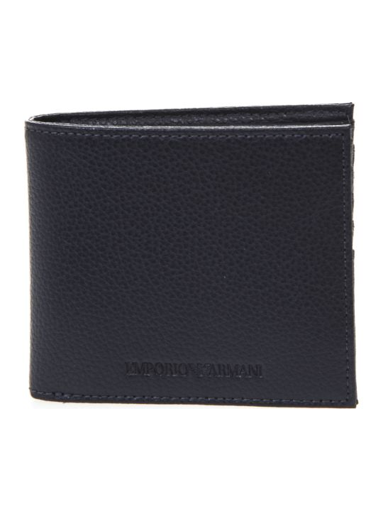 Emporio Armani Blue Leather Wallet With Engraved Logo