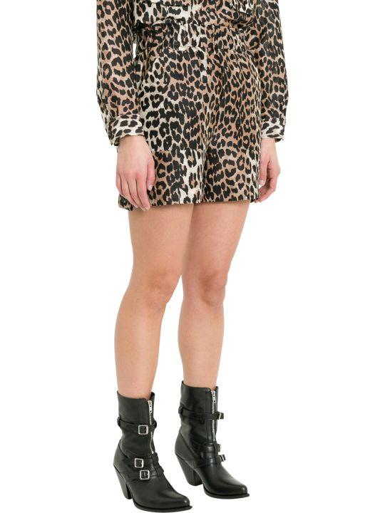 Ganni Cedar Leopard Printed Shorts