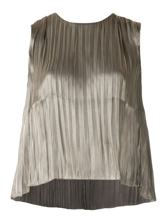Vince Metallic Effect Pleated Top