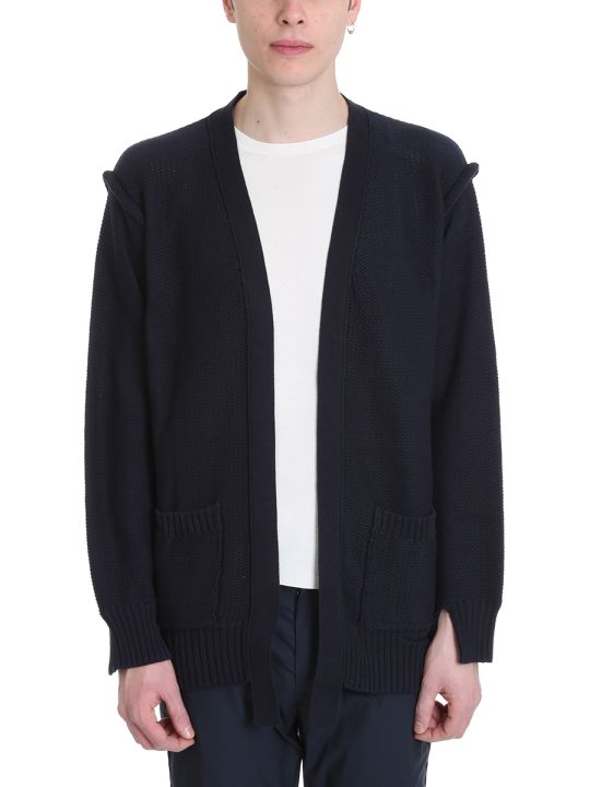 Maison Flaneur Blue Cotton Cardigan