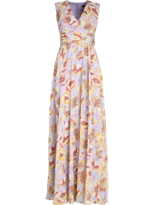 Max Mara Studio Printed Silk Long Dress