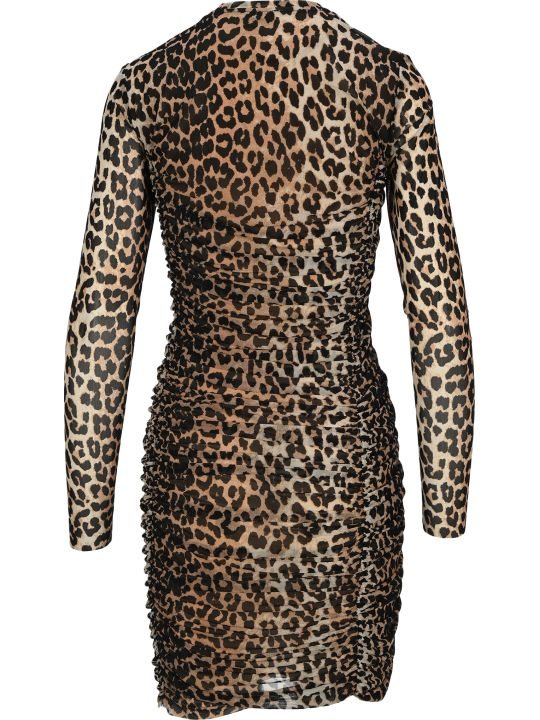 Ganni Ruched Leopard Print Dress