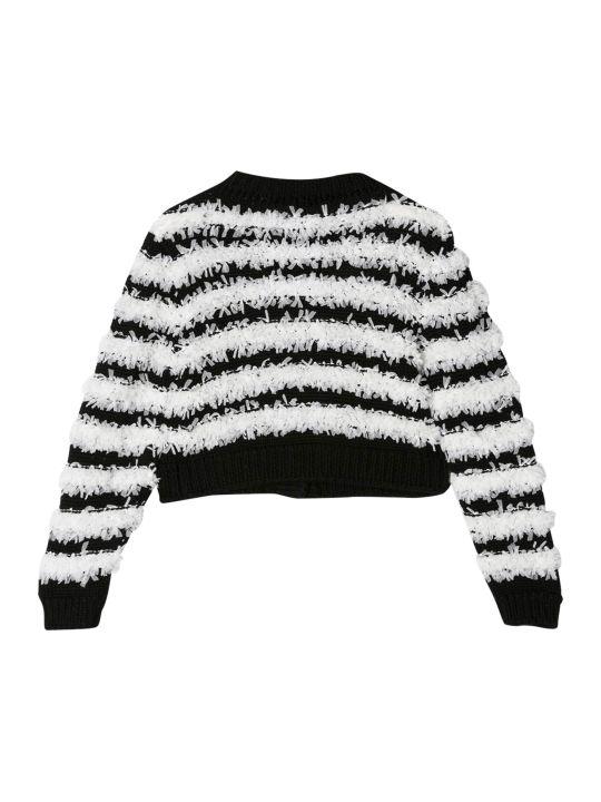 Balmain Kids Striped Fluffy T-shirt